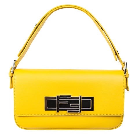 Fendi 3Baguette yellow leather shoulder bag