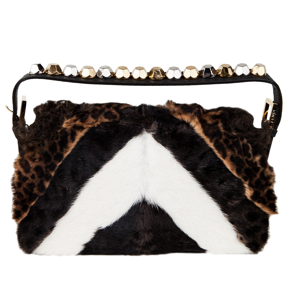 Fendi Baguette brown fur shoulder bag