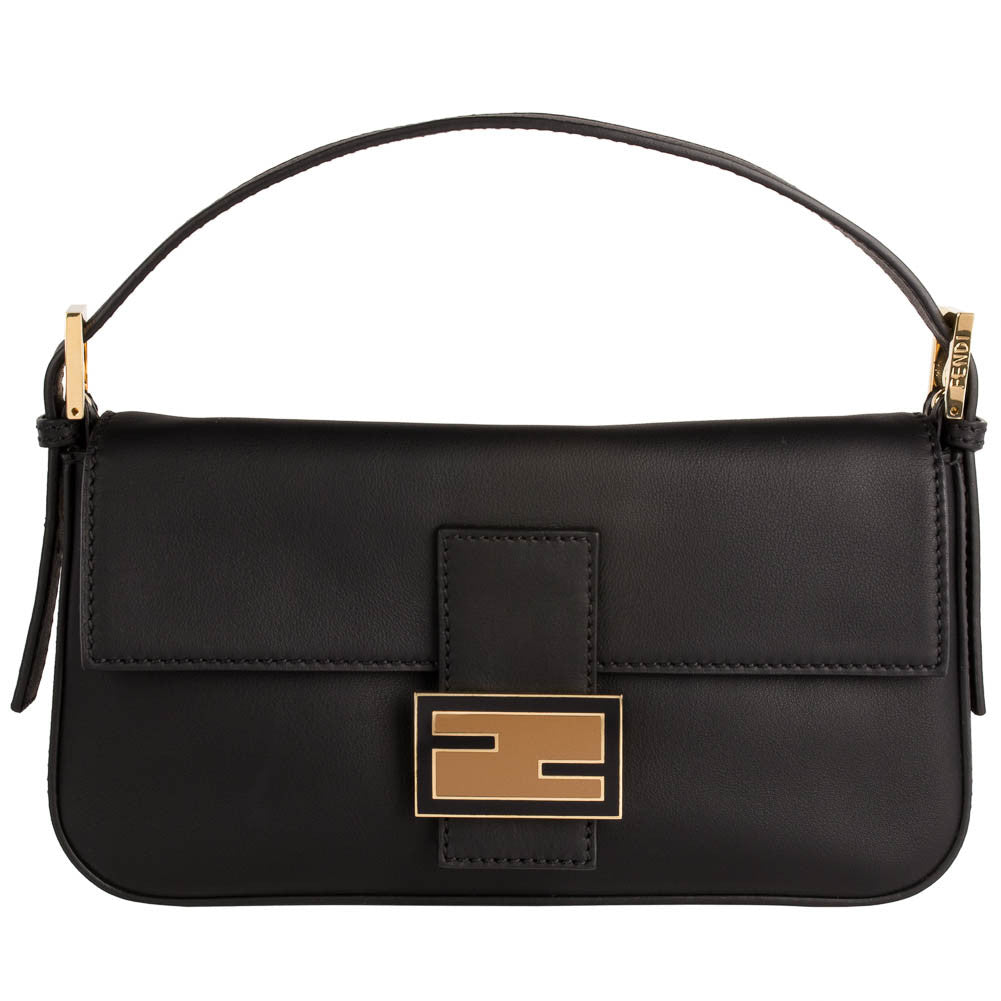 Fendi Logo Shoulder Bag - Black