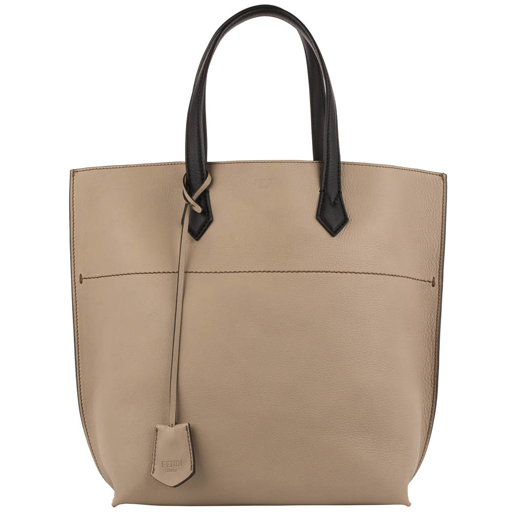 Fendi Leather Shopping Tote - Coffee