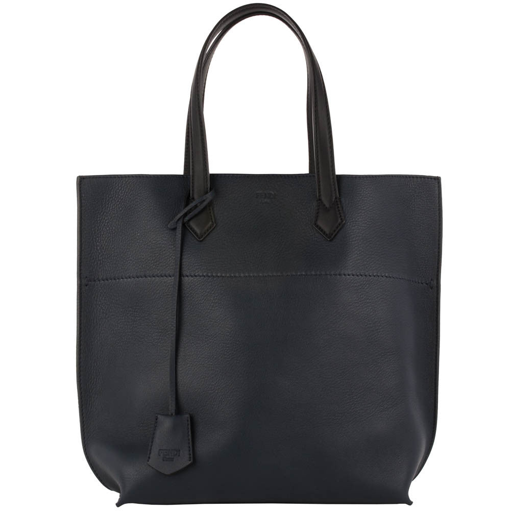 Fendi Leather Shopping Tote - Navy