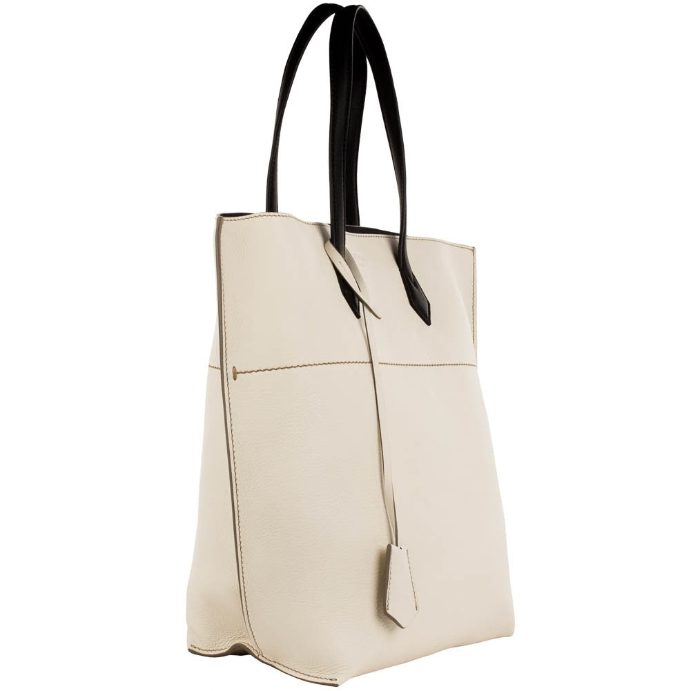 Fendi Leather Shopping Tote - Vanilla