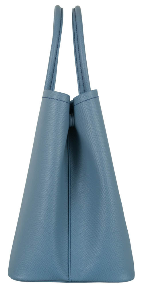 Prada Saffiano Double Bag Shopping Tote - Astral Blue
