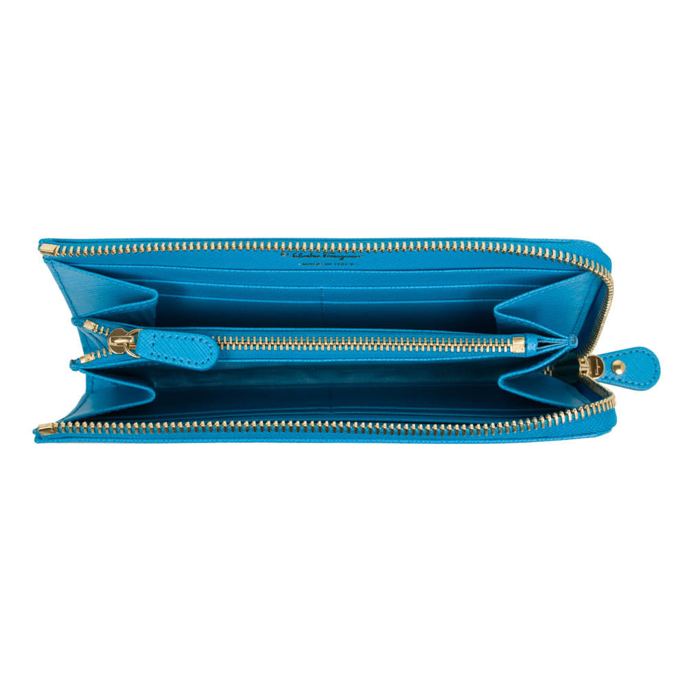 Salvatore Ferragamo Gancini Zip Around Wallet - Cielo Blue