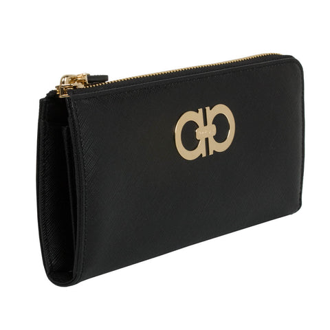 Salvatore Ferragamo Gancini Zip Around Wallet - Nero Black