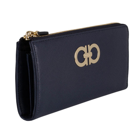 Salvatore Ferragamo Gancini Zip Around Wallet - Oxford Blue