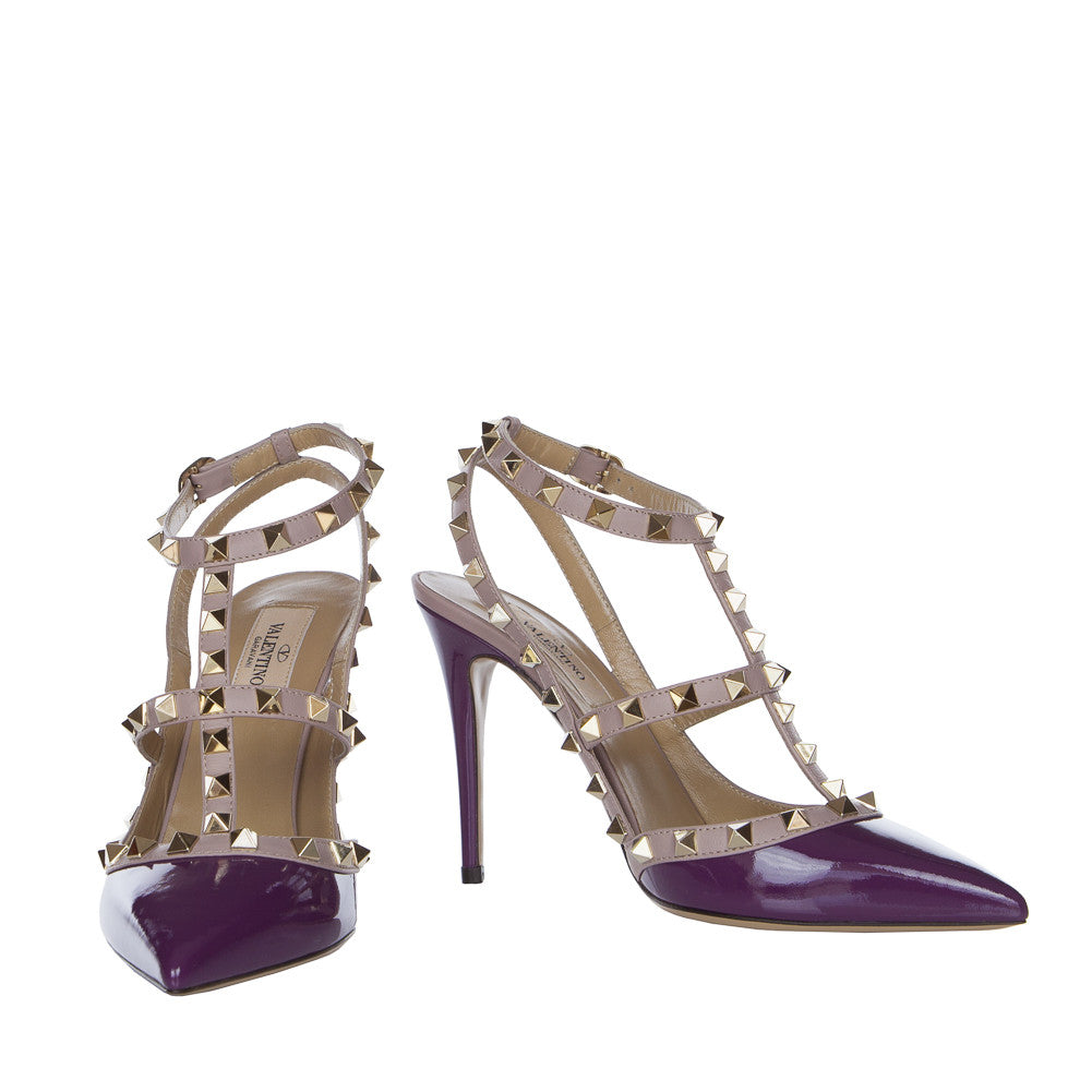 Valentino Rockstud Grape 100mm Ankle Strap Pump - IW2S0393VNW G43