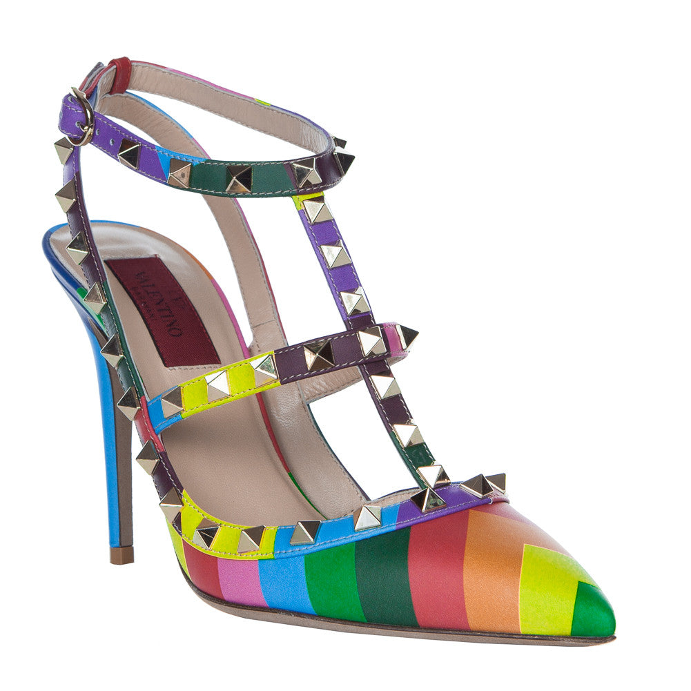 Valentino Rockstud 1973 Multicolor 100mm Ankle Strap Pump - IW2S0393VNY M12