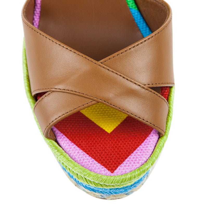 Valentino Multicolor Espadrille Wedge Sandal Brown