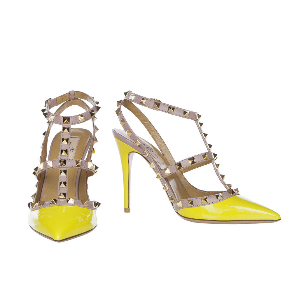 Valentino Rockstud Naples Yellow 100mm Ankle Strap Pump (35.5)