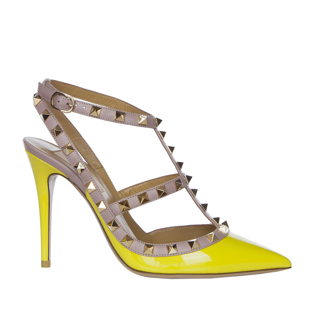 Valentino Rockstud Naples Yellow 100mm Ankle Strap Pump - IWS20393VNW N52