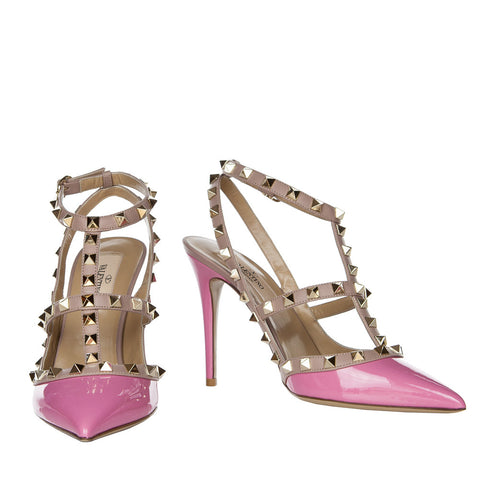 Valentino Rockstud Ninphea Pink 100mm Ankle Strap Pump