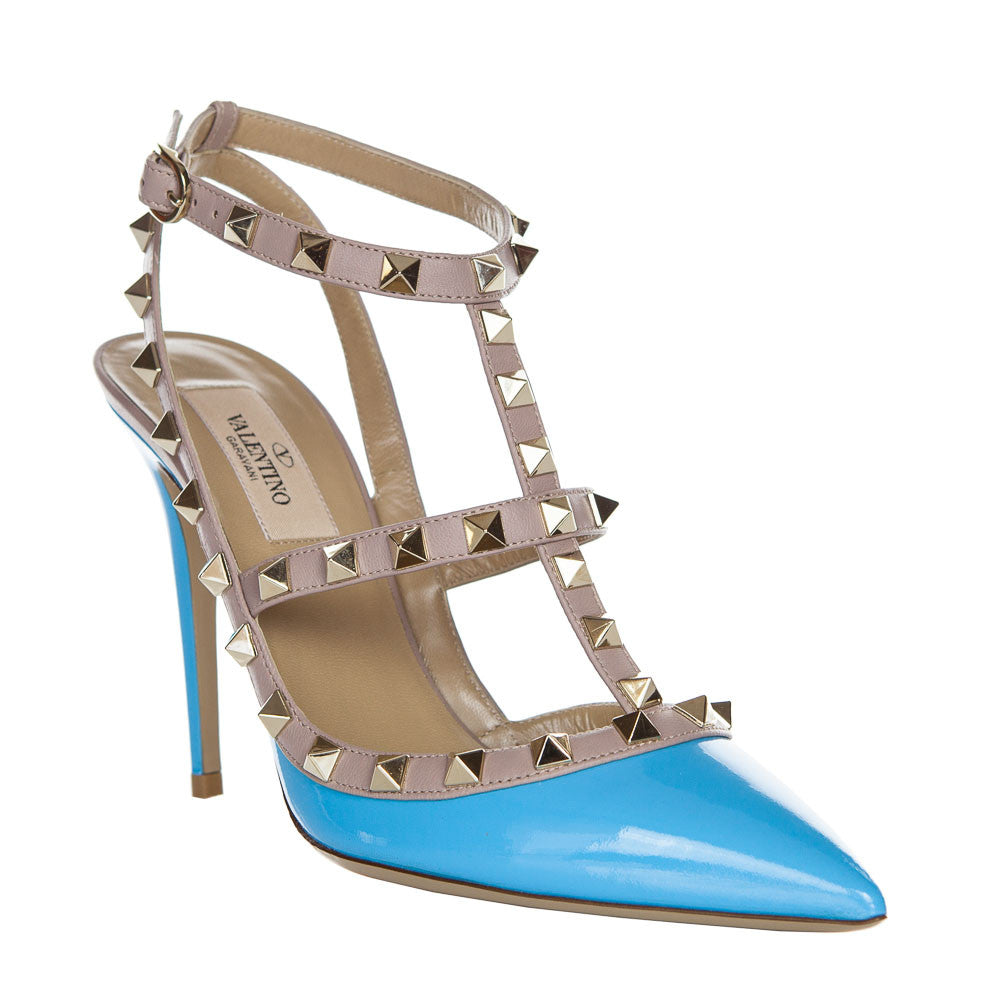 Valentino Rockstud Parrot Blue 100mm Ankle Strap Pump - IW2S0393VNW P26