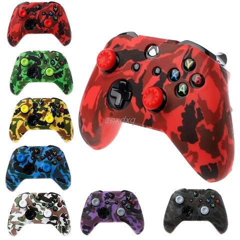 Silicone Rubber Cover Skin Case Anti-Slip Water Transfer Customize Camouflage for Xbox One Controller