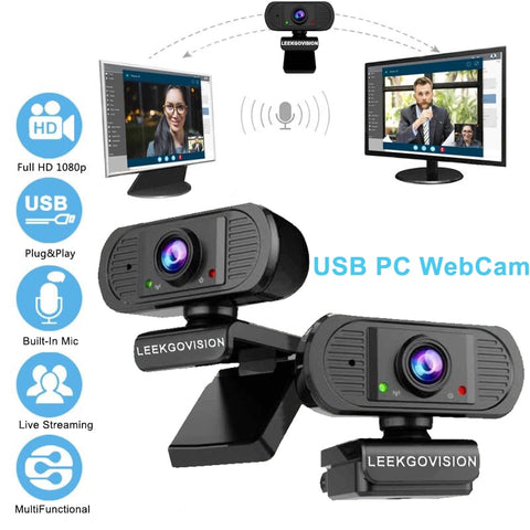 HD 1080P WebCam USB PC Camera with Built-in Microphone