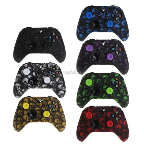Skull Pattern Silicone Rubber Cover Skin Case Anti-Slip Water Transfer Customize for Xbox One Controller