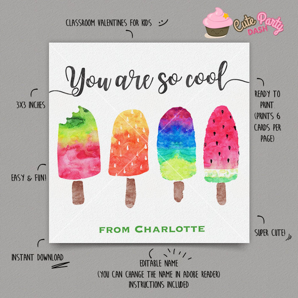 You are So Cool Popsicle Valentine