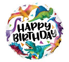 "18"" Colorful Happy Birthday Dino Balloon"