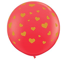 "3"" Jumbo Red Balloon with Gold Hearts"