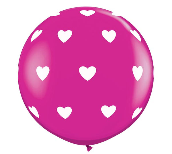 3' Berry Balloon with Hearts