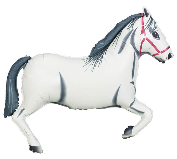 "43"" Giant White Derby Horse Balloon"