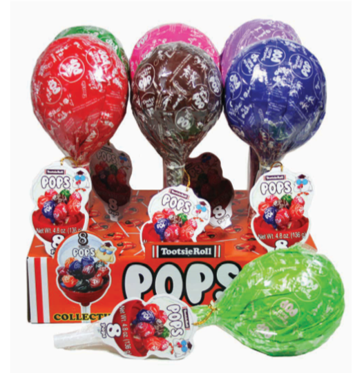 Giant Tootsie Roll Pop Container Filled with 8 Pops