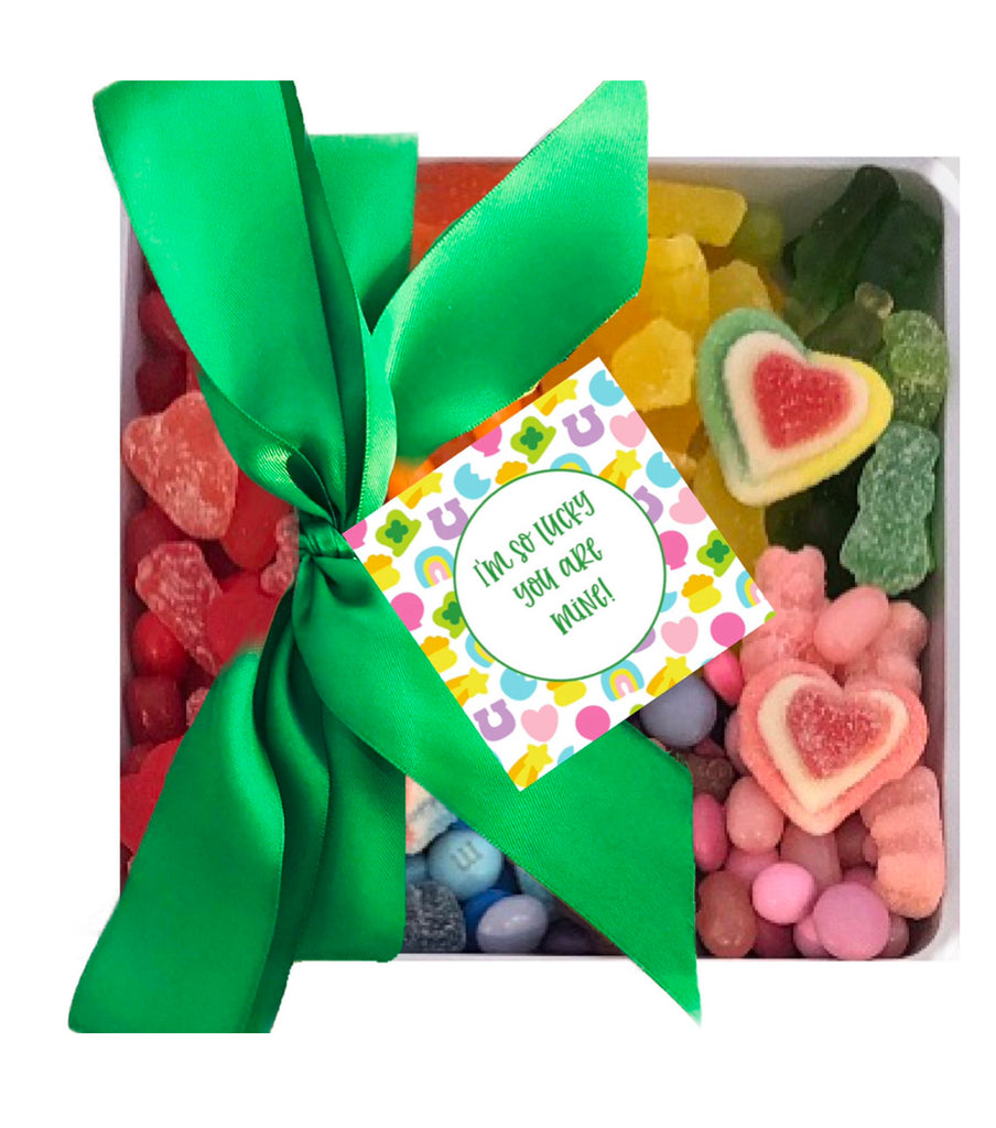 """Lucky You Are Mine"" St Patricks Day Candy 7x7 Tray with Bow"