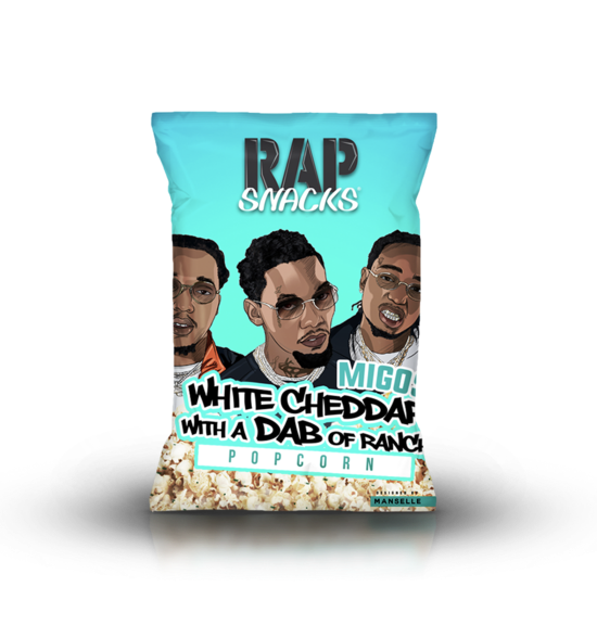 Migos White Cheddar Popcorn with a Dab of Ranch Rap Snacks