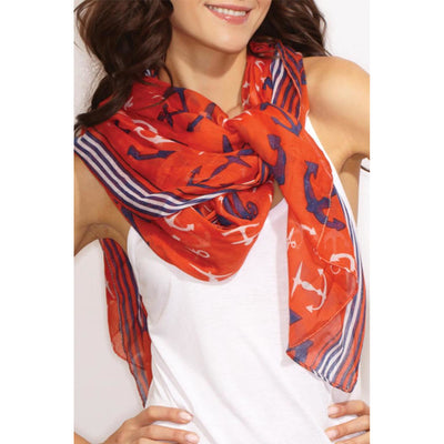 Seasonal Scarves Anchor And Red Stripes Scarf Brown