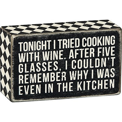 Wine Cooking With Wine - Box Sign Black