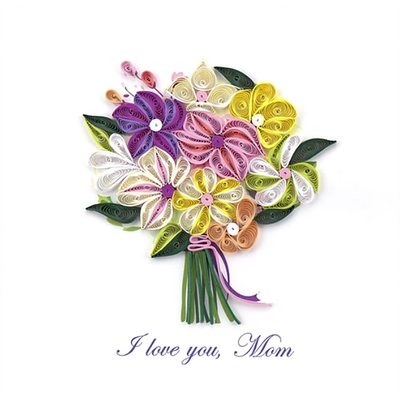 Mother's Day I Love You Mom Bouquet Quilling Card Tan