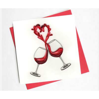 Valentine's Day A Toast To Love Quilling Card Brown
