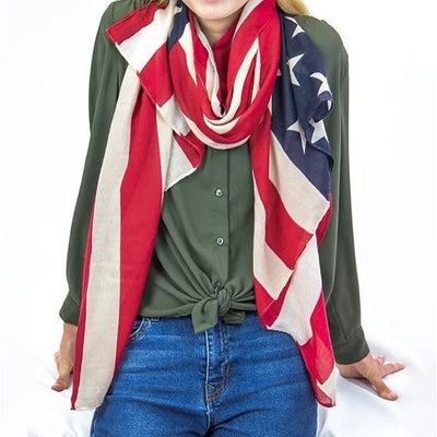Fourth of July American Flag Scarf Brown