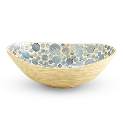 Decorative Bowls Mother Of Pearl Dots Bamboo Bowl Tan