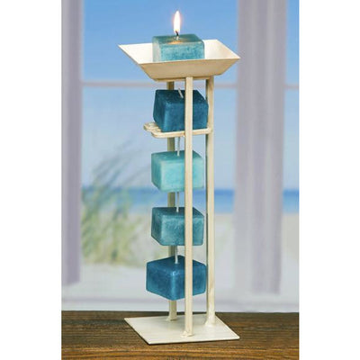Candles Candle On A Rope Holder White Light Steel Blue