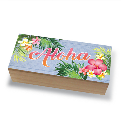 Tabletop Decor Coastal Wood Box, Aloha Palm Light Steel Blue