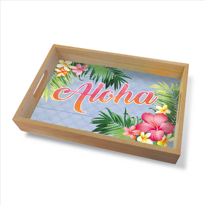 Plates Coastal Wood Tray Large, Aloha Palm Light Steel Blue