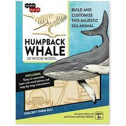 Toys 3D Wood Puzzle Model Kit Humpback Whale Sky Blue