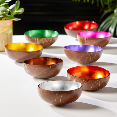 Decorative Bowls Shimmering Foil Lacquered Coconut Bowls Saddle Brown