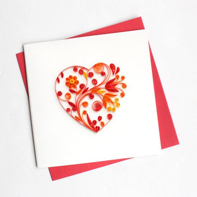 Valentine's Day Love Heart Quilling Card Firebrick