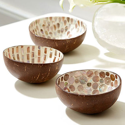 Decorative Bowls Naturals Mother Of Pearl Lacquered Coconut Bowls Saddle Brown