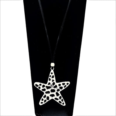 Handcrafted Medallion Necklace Starfish Black