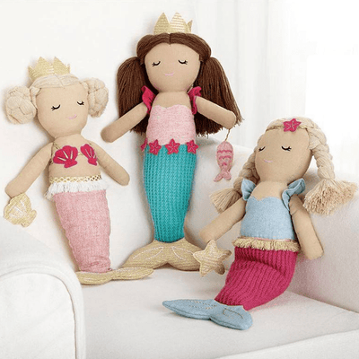 Kids Plush Linen Mermaid Doll Light Sea Green