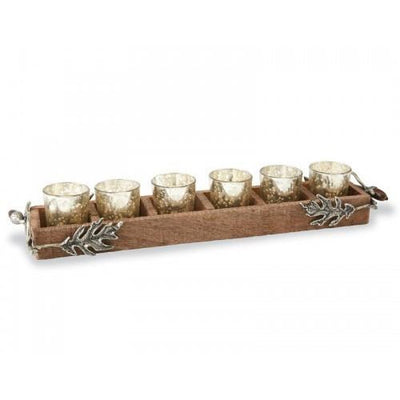 Candles Oak Leaf Wood Votive Holder Dim Gray