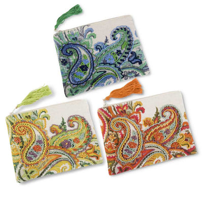Totes and Bags Paisley Beaded Cosmetic Bag Sienna