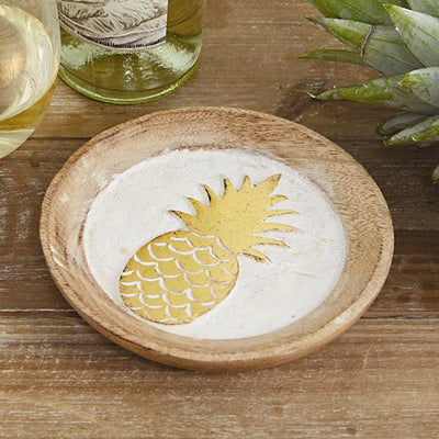 Wine Bottle Holders Hand Carved Pineapple Bottle Coaster Tan