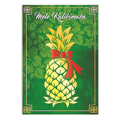 Christmas Pineapple Treasure Supreme Hawaiian Christmas Cards Dark Olive Green
