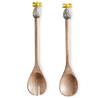 Coastal Kitchen Pineapple Wood Salad Servers Antique White