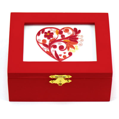 Valentine's Day Red Musical Box Heart Quilling Firebrick