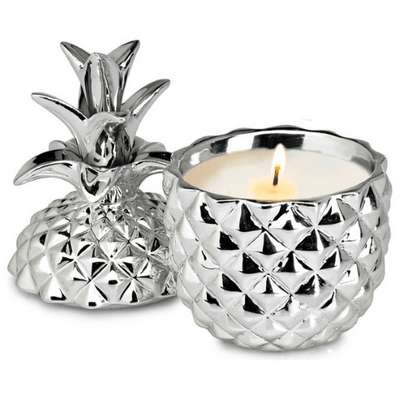 Candles Silver Ceramic Pineapple Candle Beige
